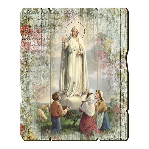 Our Lady of Fatima and shepherds painting on wood with hook 35x30 cm 1