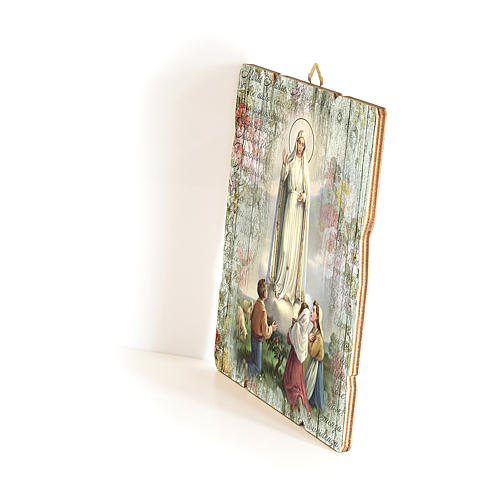 Our Lady of Fatima and shepherds painting on wood with hook 35x30 cm 2