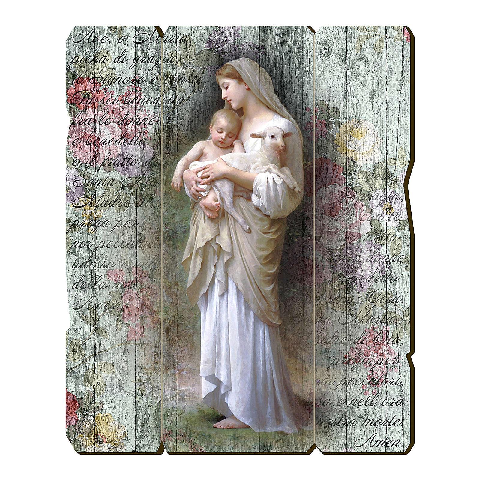 Quadro in Legno Sagomato gancio retro Madonna Divina Innocenza 35x30 3