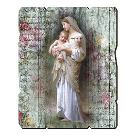 Quadro in Legno Sagomato gancio retro Madonna Divina Innocenza 35x30 s1