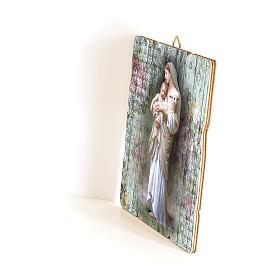Quadro in Legno Sagomato gancio retro Madonna Divina Innocenza 35x30 s2