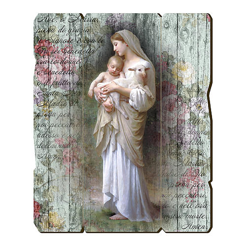 Quadro in Legno Sagomato gancio retro Madonna Divina Innocenza 35x30 1