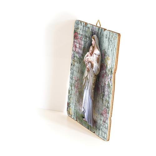 Quadro in Legno Sagomato gancio retro Madonna Divina Innocenza 35x30 2