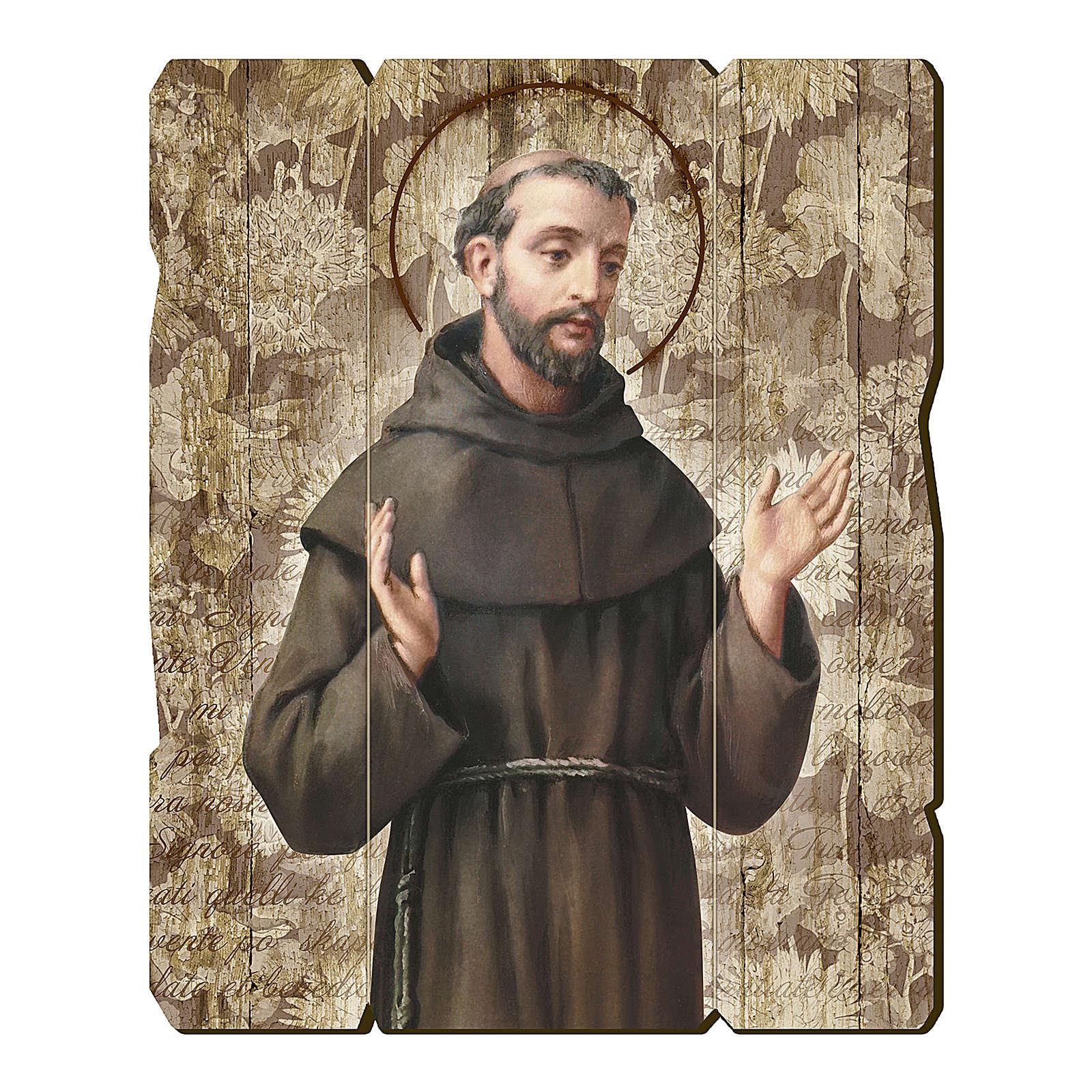 Quadro in Legno Sagomato gancio retro San Francesco d'Assisi 35x30 3