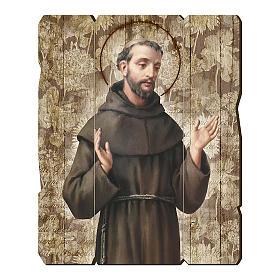 Quadro in Legno Sagomato gancio retro San Francesco d'Assisi 35x30 s1
