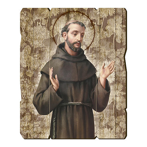 Quadro in Legno Sagomato gancio retro San Francesco d'Assisi 35x30 1