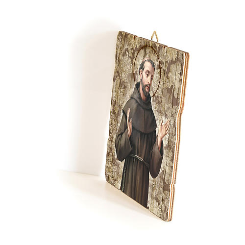 Quadro in Legno Sagomato gancio retro San Francesco d'Assisi 35x30 2