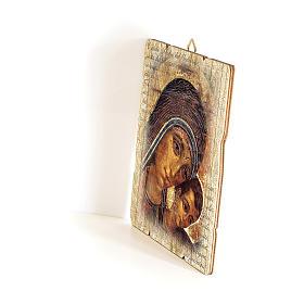 Quadro in Legno Sagomato gancio retro Icona Madonna del Kiko 35x30 s2