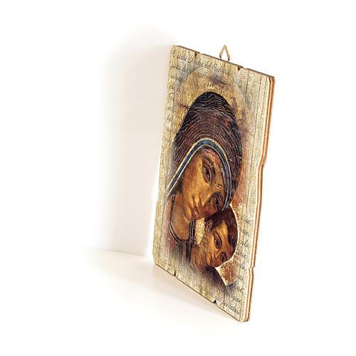 Quadro in Legno Sagomato gancio retro Icona Madonna del Kiko 35x30 2