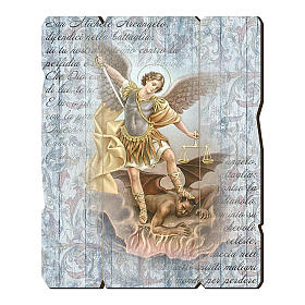 Paintings, printings, illuminated manuscripts: Saint Archangel Micheal painting in moulded wood with hook on the back 35x30 cm