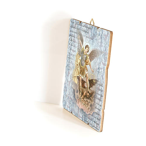Saint Archangel Micheal painting in moulded wood with hook on the back 35x30 cm 2