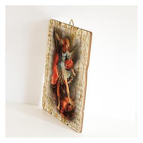 Quadro em madeira moldada gancho no verso Arcanjo Miguel 35x30 cm