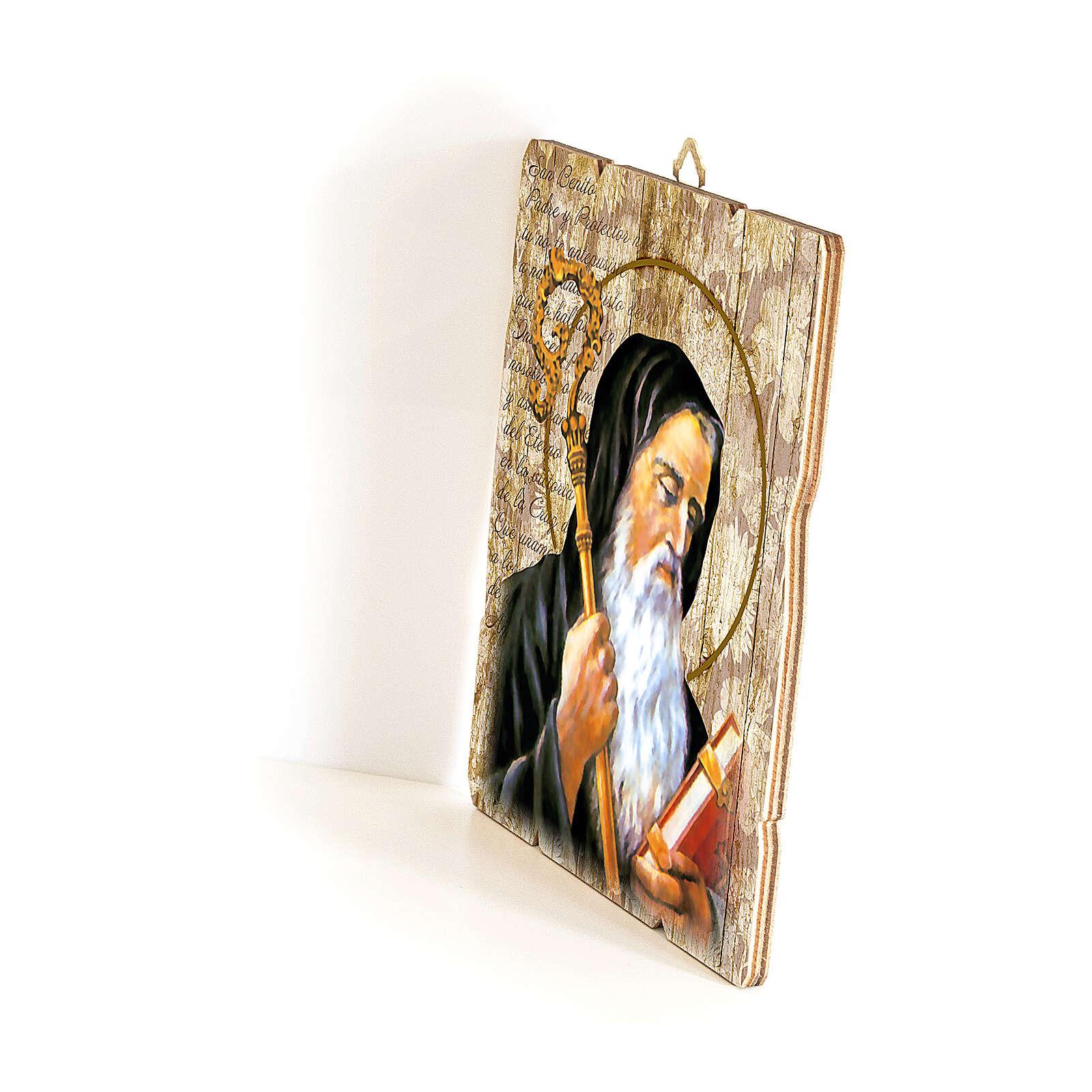 Bild aus Holz retro Heiliger Benedikt von Nursia, 35x30 cm 3