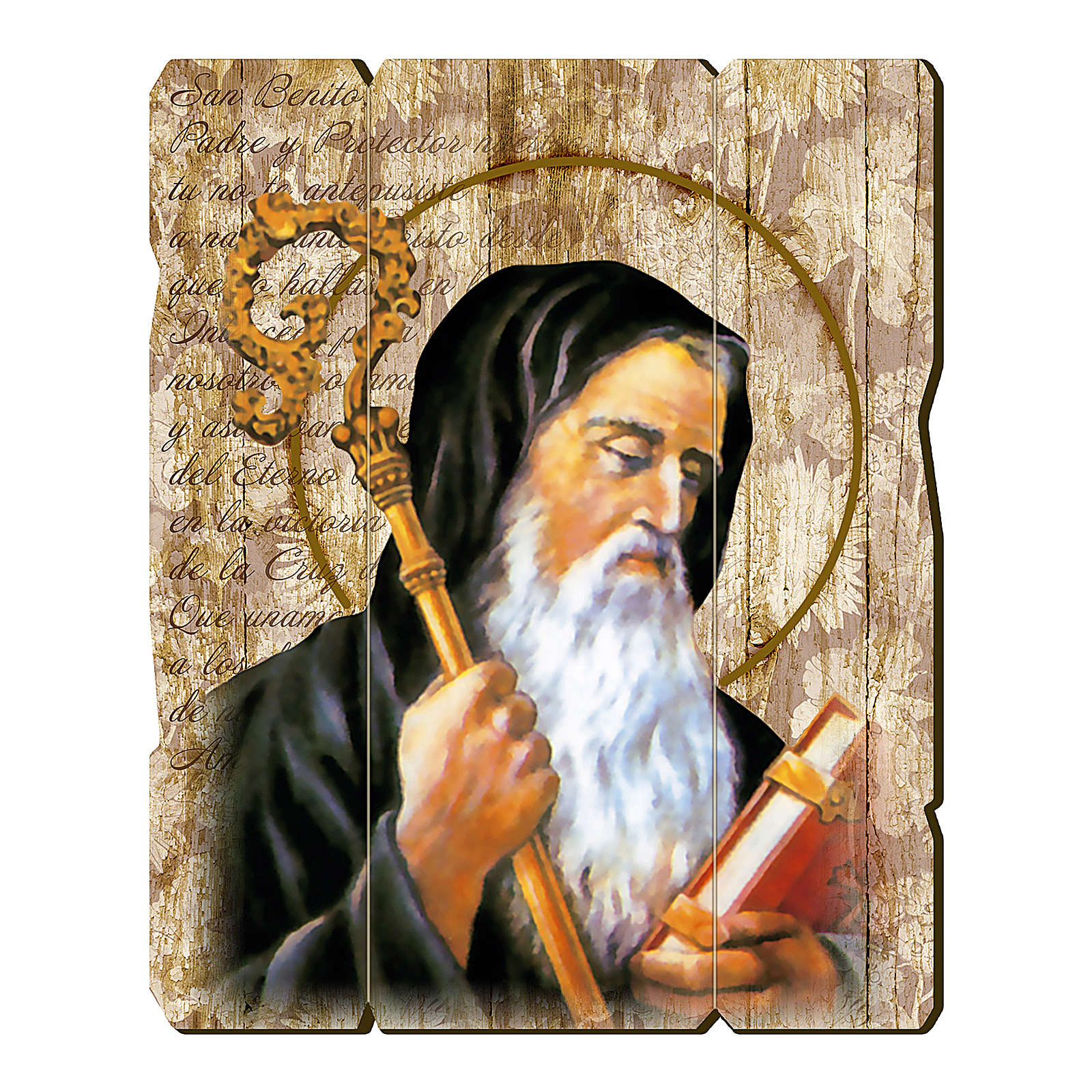 Saint Benedict painting in moulded wood with hook on the back 35x30 cm 3