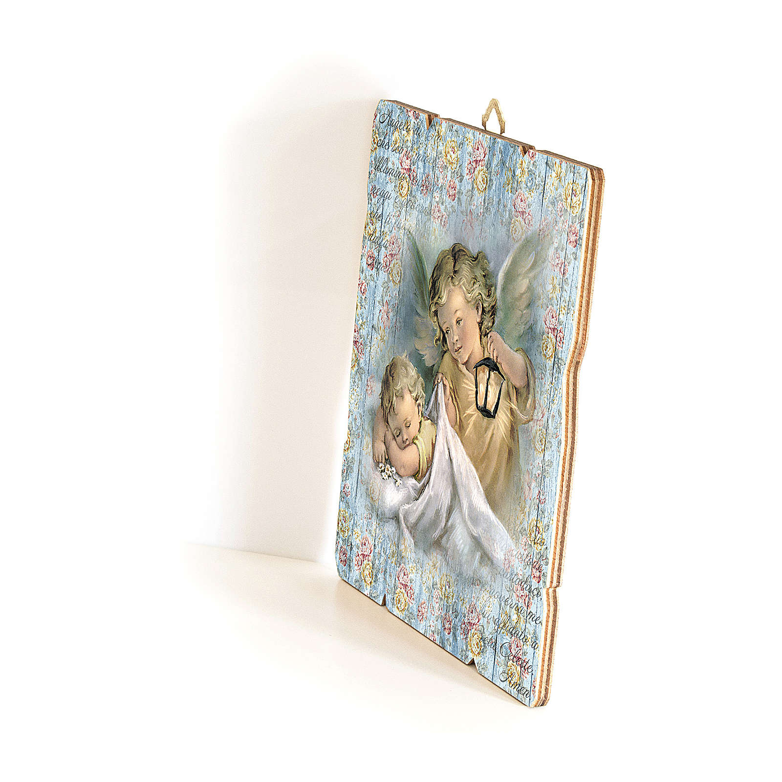 The Guardian Angel with lantern painting in moulded wood with hook on the back 35x30 cm 3