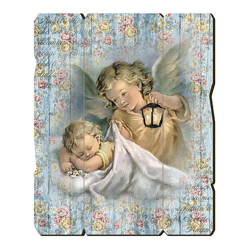 The Guardian Angel with lantern painting in moulded wood with hook on the back 35x30 cm 1