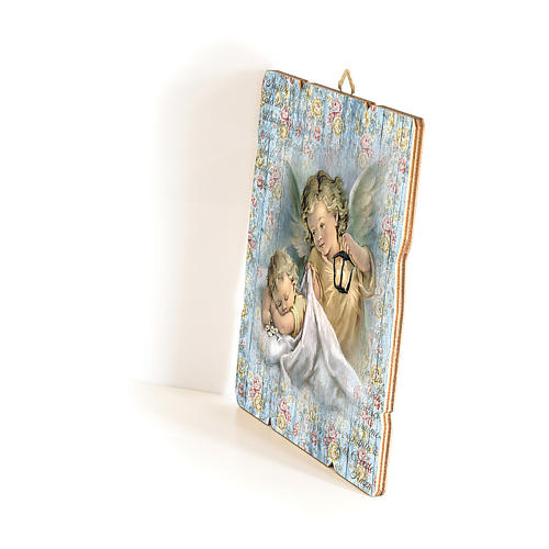 The Guardian Angel with lantern painting in moulded wood with hook on the back 35x30 cm 2