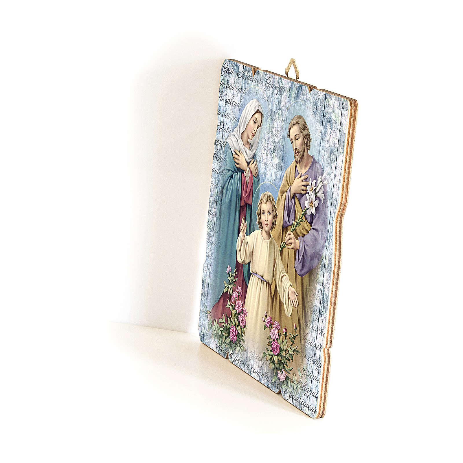 Quadro in Legno Sagomato gancio retro immagine Sacra Famiglia   35x30 3