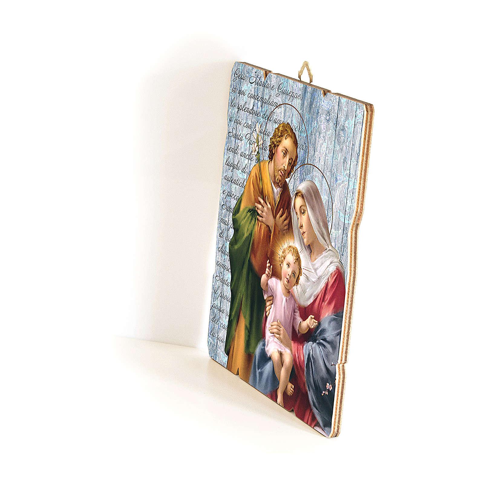 Quadro in Legno Sagomato gancio retro Sacra Famiglia 35x30 3