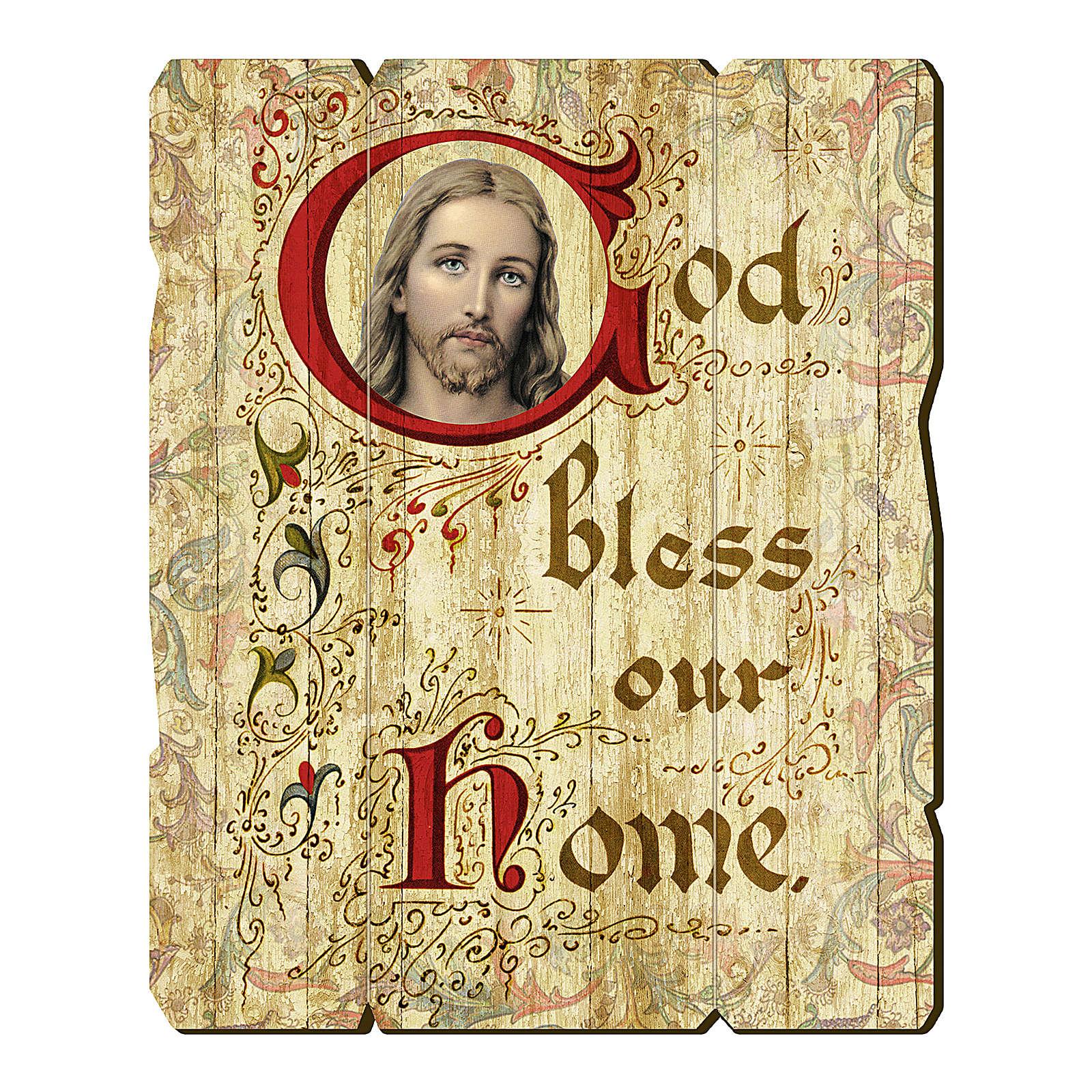 Quadro in Legno Sagomato gancio retro God Bless Our Home 35x30 3