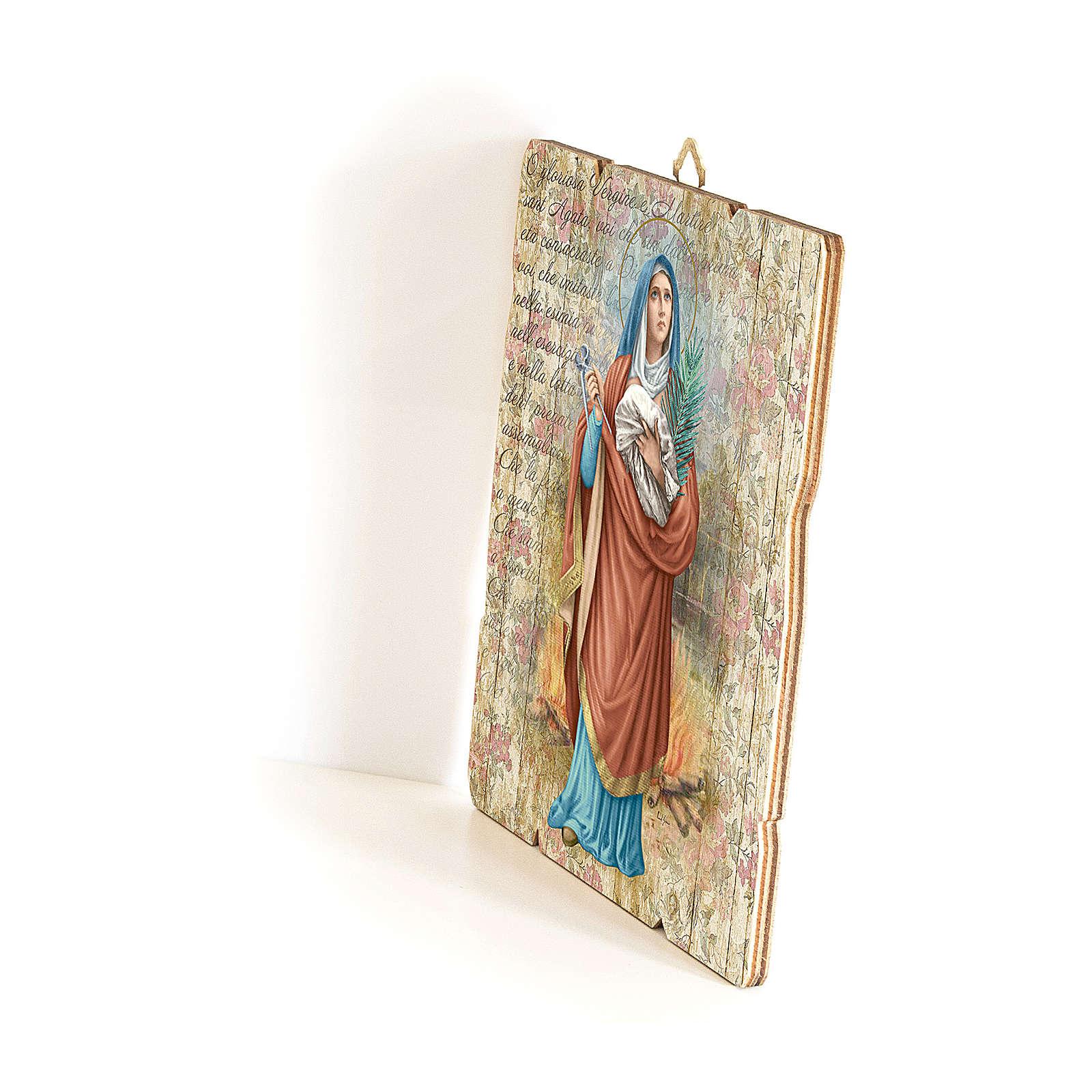 Cuadro madera con ganche Santa Águeda 35 x 30 cm  3