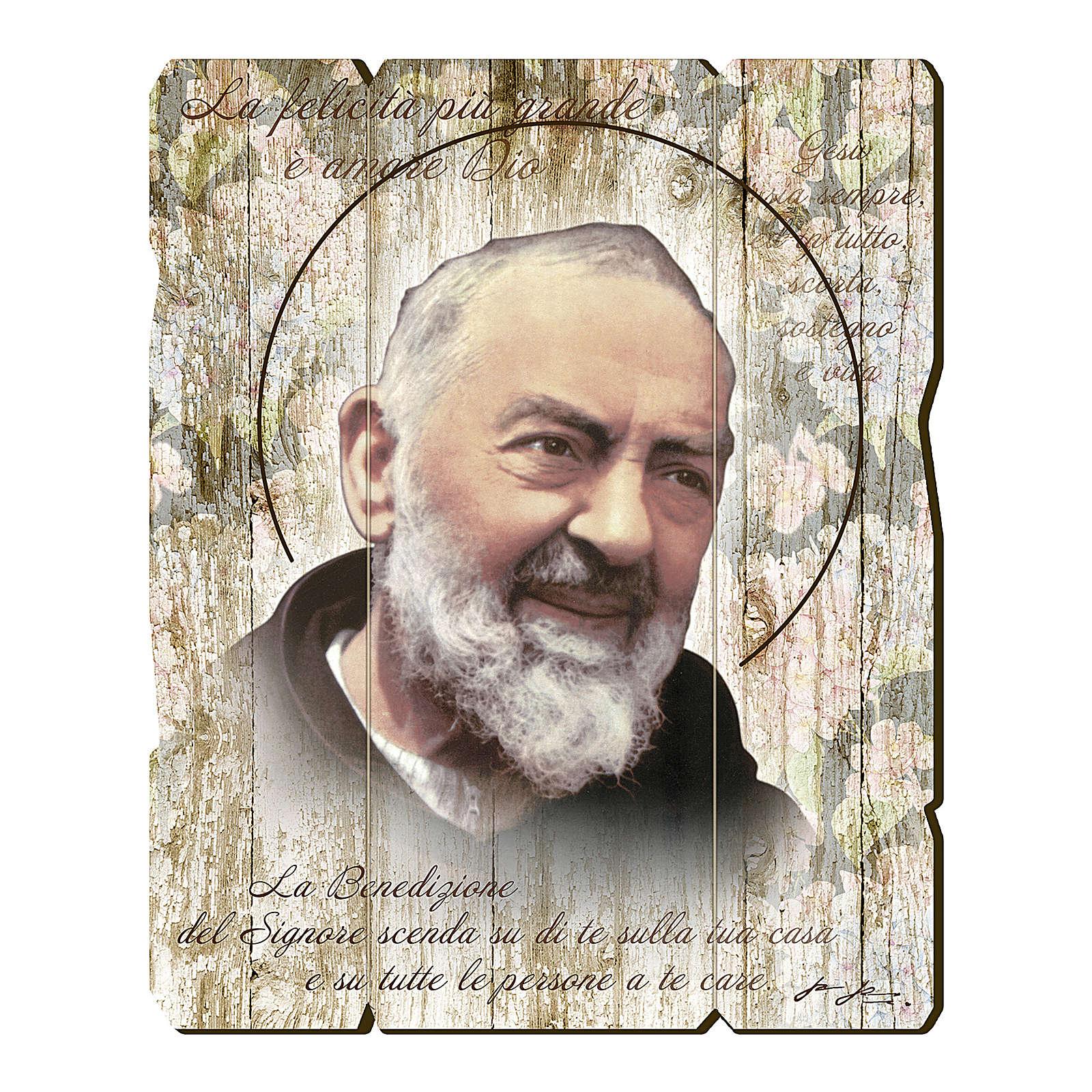 Cadre en bois profilé crochet arrière Padre Pio 35x30 cm 3