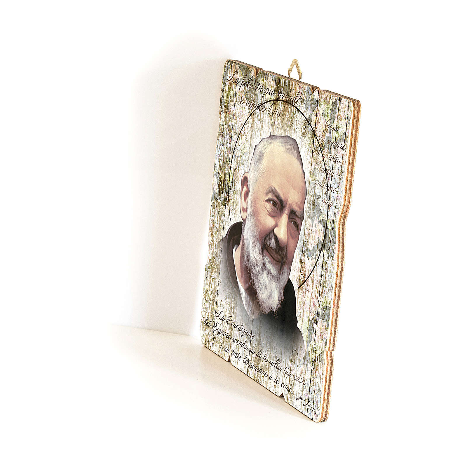 Quadro in Legno Sagomato gancio retro Padre Pio 35x30 3