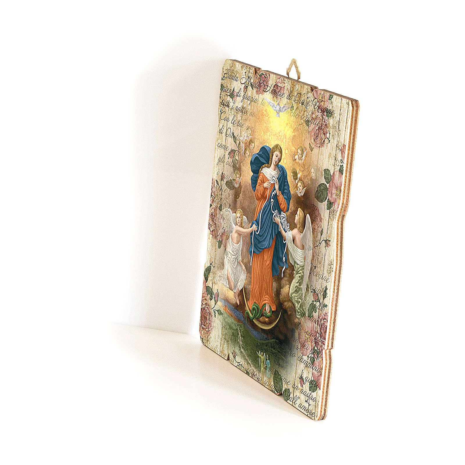Quadro in Legno Sagomato gancio retro Madonna dei Nodi 35x30 3