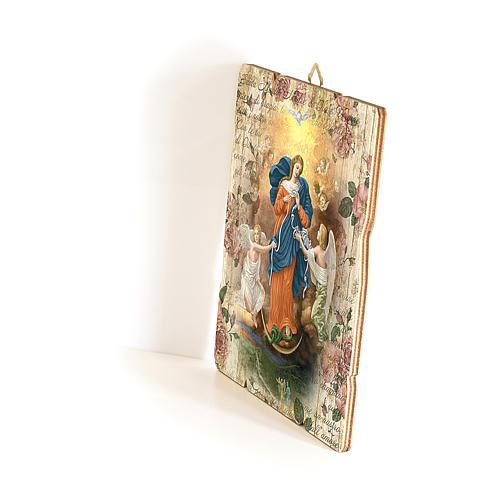 Quadro in Legno Sagomato gancio retro Madonna dei Nodi 35x30 2