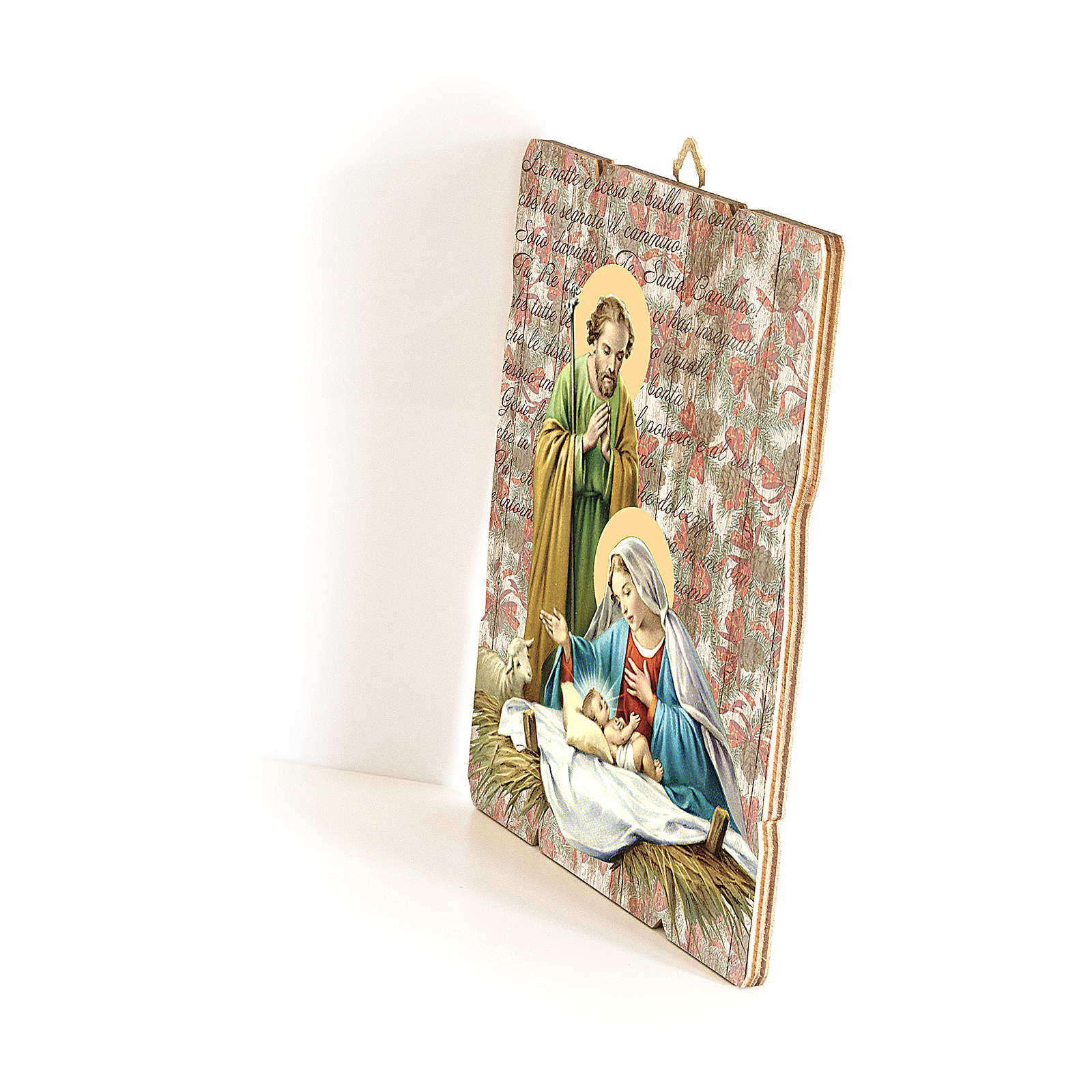 Holy Family painting in moulded wood with hook on the back 35x30 cm 3