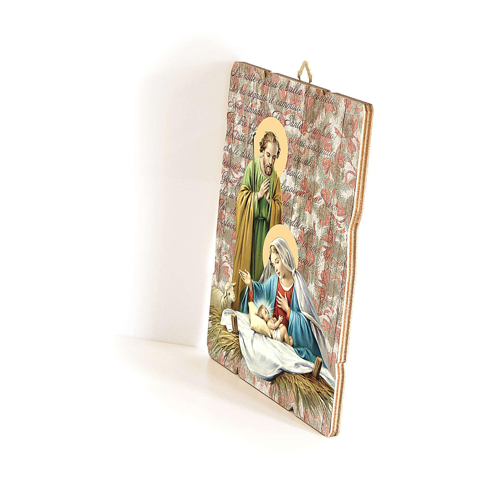 Cuadro de Madera Perfilada gancho parte posterior Natividad 35x30 3