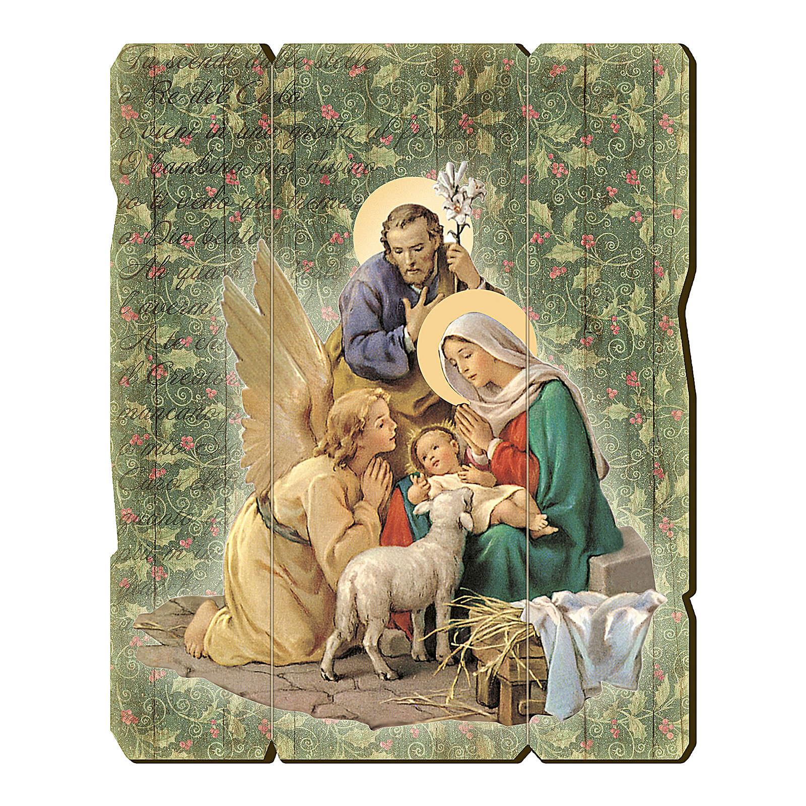 Bild aus Holz retro Krippe mit Engelchen 25x20 cm 3