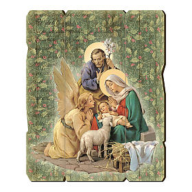 Nativity scene with Angel painting in moulded wood with hook on the back 25x20 cm s1