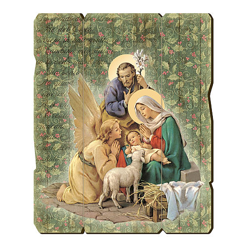 Nativity scene with Angel painting in moulded wood with hook on the back 25x20 cm 1