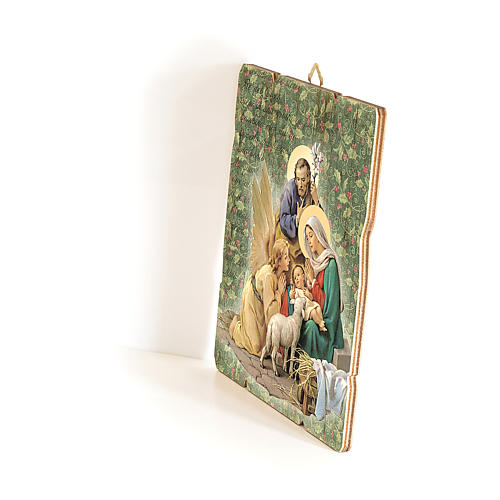 Nativity scene with Angel painting in moulded wood with hook on the back 25x20 cm 2