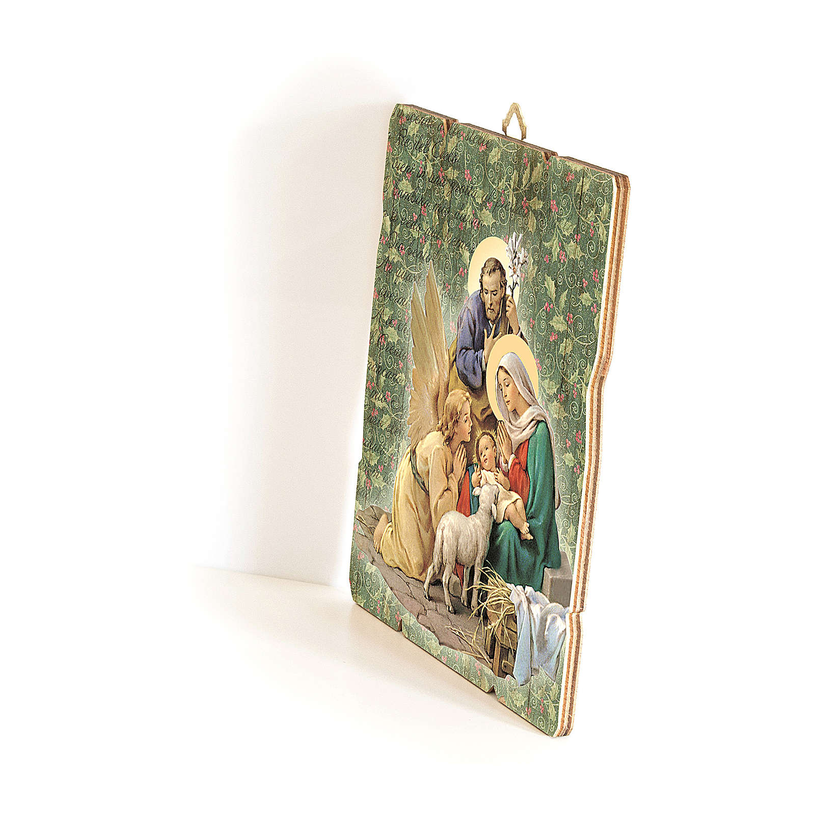 Nativity scene with Angel painting in moulded wood with hook on the back 25x20 cm 3