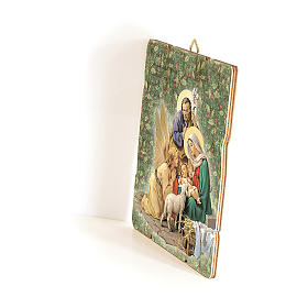 Nativity scene with Angel painting in moulded wood with hook on the back 25x20 cm s2