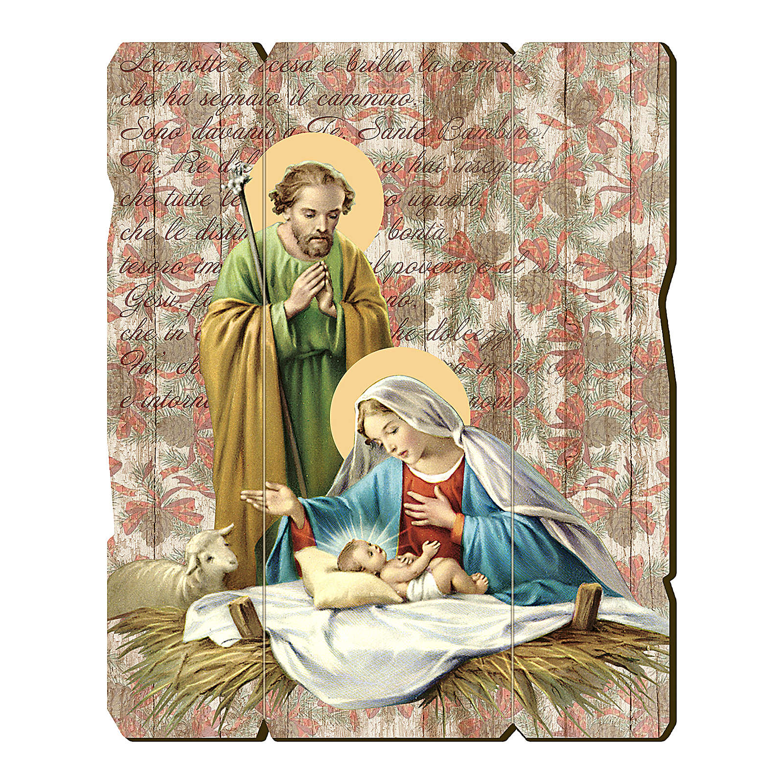 Holy Family painting in moulded wood with hook on the back 25x20 cm 3