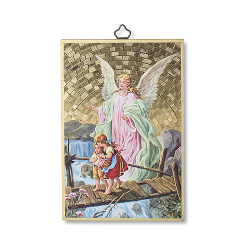 The Guardian Angel with Angel of God prayer woodcut ITALIAN 1