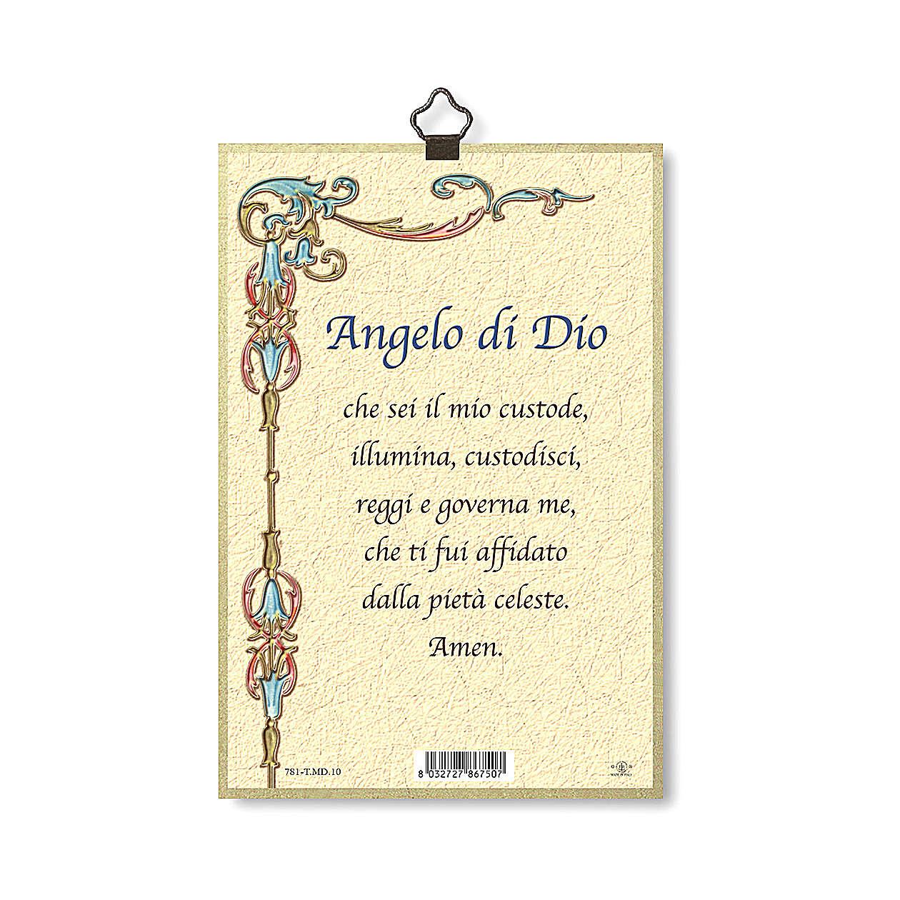 Impression sur bois Ange gardien Ange de Dieu ITA 3