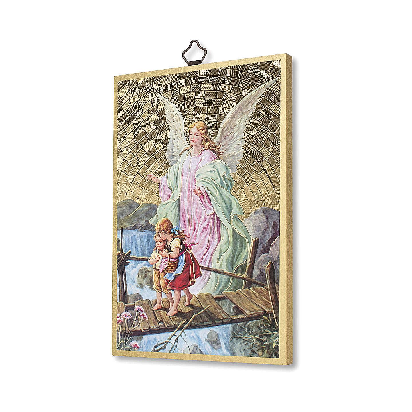 The Guardian Angel with Angel of God prayer woodcut ITALIAN 3