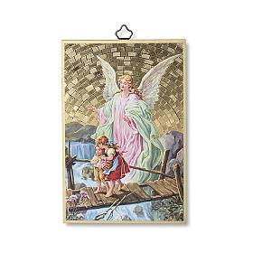 The Guardian Angel with Angel of God prayer woodcut ITALIAN s1