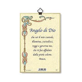 The Guardian Angel with Angel of God prayer woodcut ITALIAN s3