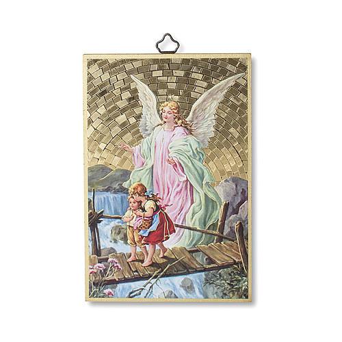 The Guardian Angel with Angel of God prayer woodcut ITALIAN 1