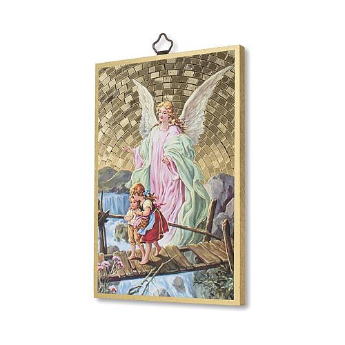 The Guardian Angel with Angel of God prayer woodcut ITALIAN 2