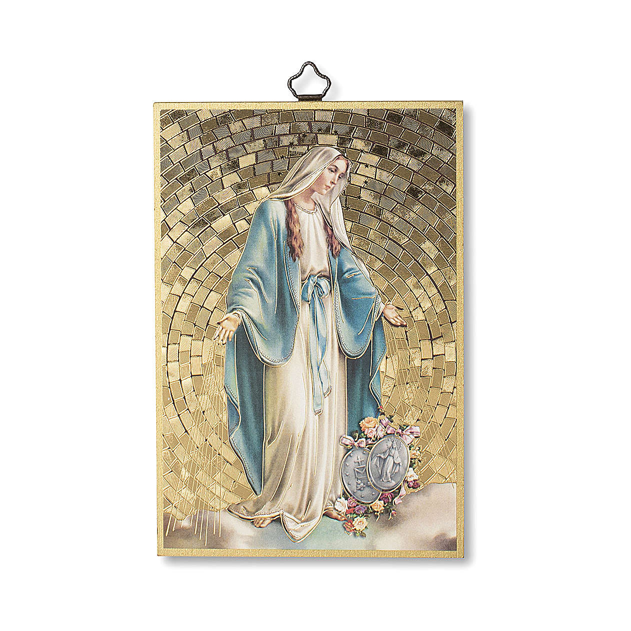 Impreso sobre madera Virgen Milagrosa con Medallas Oración muy Eficaz ITA 3