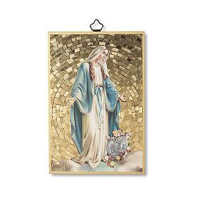 Impreso sobre madera Virgen Milagrosa con Medallas Oración muy Eficaz ITA s1