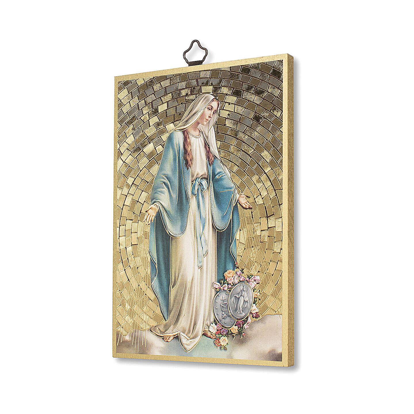 Impressão na madeira Nsa Sra Milagrosa com Medalhas e oração ITA 3