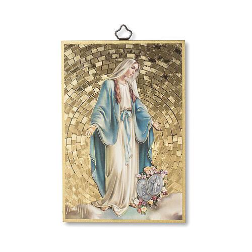 Impressão na madeira Nsa Sra Milagrosa com Medalhas e oração ITA 1