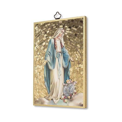 Impressão na madeira Nsa Sra Milagrosa com Medalhas e oração ITA 2